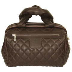 CHANEL Coco Cocoon Collection Brown Quilted Grained Leather Pristine Bowler Bag