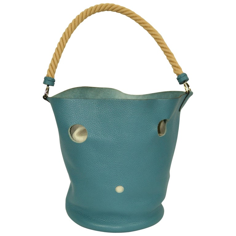 "HERMES ""Mangeoire"" Collection Blue Taurillon Leather Bucket Bag"