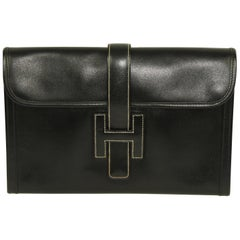 HERMES Timeless Jige Clutch MM Black Box Leather