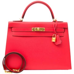 NEVER USED  Hermès Kelly Sellier 32 Epsom Rouge Tomate GHW
