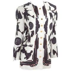 """Vintage Hermes Jacket """"PARURES""""  White Silk  With Black Print"""