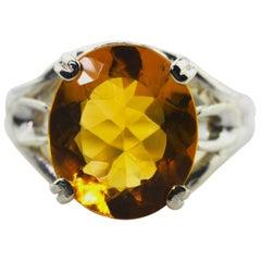 5.89 Carat Golden Citrine Fashion Ring