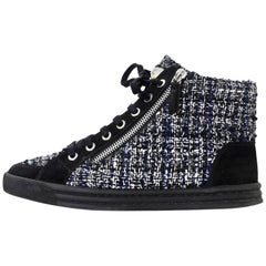 Chanel Black, White & Grey Tweed High Top Sneakers Sz 37 with Box