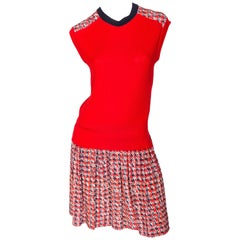 Louis Vuitton Red Knit and Silk Print Dress - Size Medium