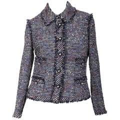 Chanel Tweed Jacket with Fringe Trim FR 40 / US 8