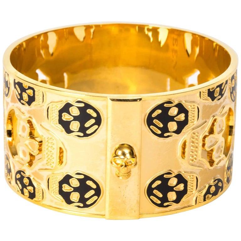 Alexander McQueen Gold Metal Skull Cuff / Bracelet For Sale