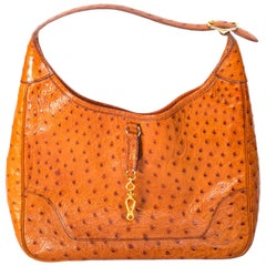 Hermes Tan Ostrich Trim Bag with Gold Hardware