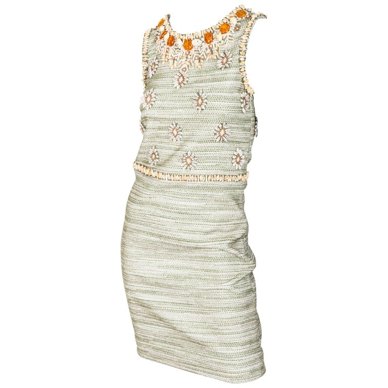 Oscar de la Renta Embellished Small Shift Dress