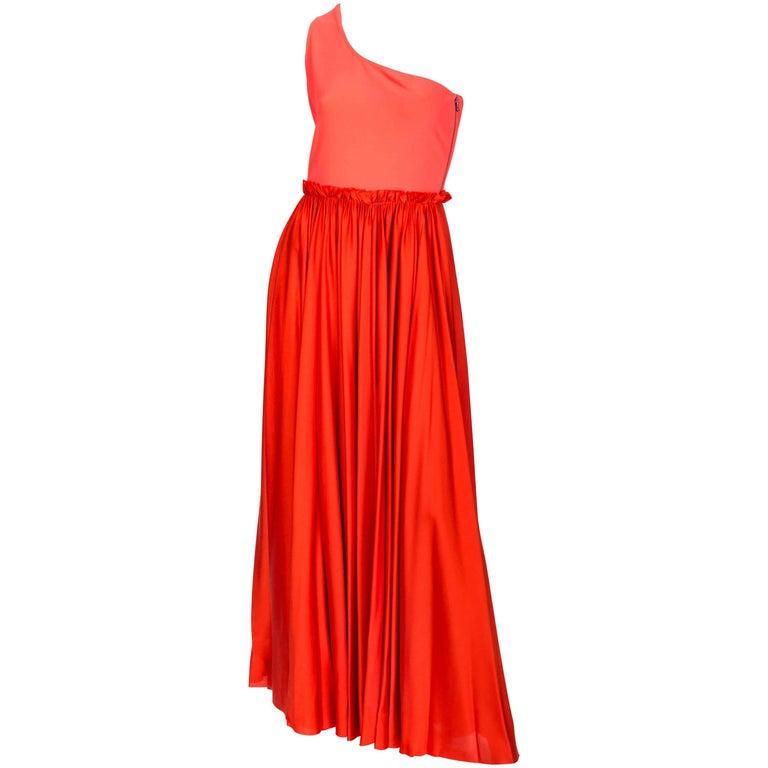 Lanvin One Shoulder Silk Gown in Pumpkin Orange, Size 40