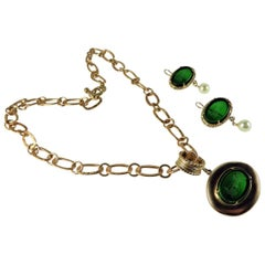 Bronze and engraved Murano glass green parure by Patrizia Daliana