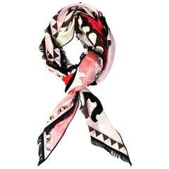 Emilio Pucci Pink, Red & Black Cashmere Shawl Scarf