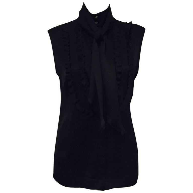 Conceptually Creative Chanel Black Silk Tuxedo Style Blouse with Up Collar For Sale