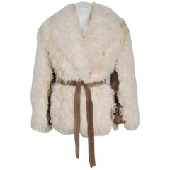 1970's Ivory Mongolian Curly-Lamb Fur & Tan Suede Belted Cropped Coat Jacket