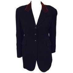 Vintage Hermès Black Wool Riding Jacket With Chestnut Velvet Collar