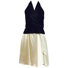 Alexander Wang Halter Top and Silk Full Skirt Dress Black and Ivory
