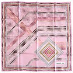 Christian Dior Pink Geometric Silk Scarf