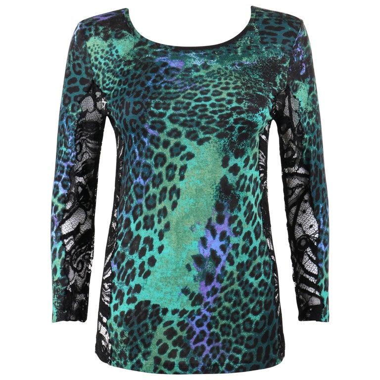EMILIO PUCCI Pre-Fall 2011 Green Leopard Print Knit & Black Lace Inset Top