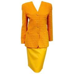 Escada Citrus Cotton/Wool Blend Tweed Jacket and Wool Skirt Ensemble