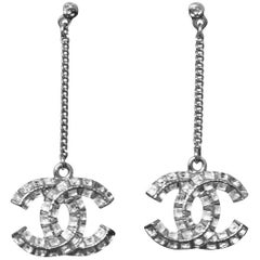 Chanel Crystal CC Drop Earrings with Box