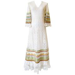 1970s Sant Angelo Lace Ribbon Maxi Dress