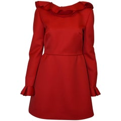 Valentino Wool Dress in Red with Ruffle
