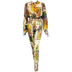 Marvelous Moschino Multi Color Vintage Casino Print Jean Suit