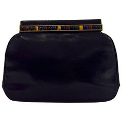 Jeweled Judith Leiber Black Lizard Timeless Clutch/Shoulder Bag