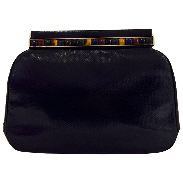 Jeweled Judith Leiber Black Lizard Timeless Clutch/Shoulder Bag