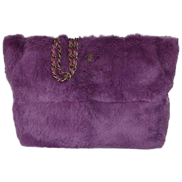 Chanel Lapin Fur Purple Tote
