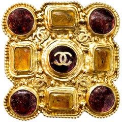 Chanel 2011 Goldtone CC Gripoix Brooch Pin