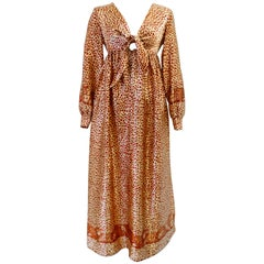 1970s Saks Fifth Avenue Satin Leopard Gown