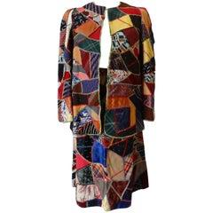 1970s Patchwork Skirt & Jacket Set