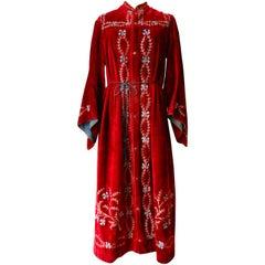 Early 1900s Velvet Angel Sleeve Gown