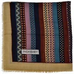 Yves Saint Laurent YSL Geometric Pattern Fine Wool Vintage Scarf