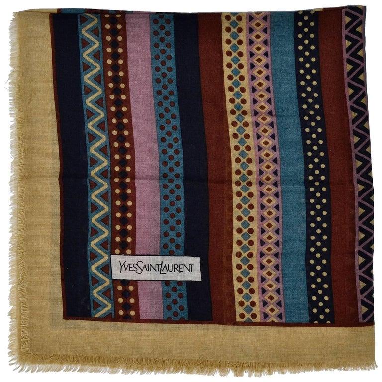 Yves Saint Laurent YSL Geometric Pattern Fine Wool Vintage Scarf 1