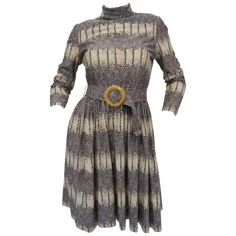 1960s Oscar de La Renta Snakeskin Print Dress