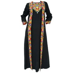 Vintage Suffering Moses Wool Kashmiri Embroidered One Piece Wrap Dress Coat 10