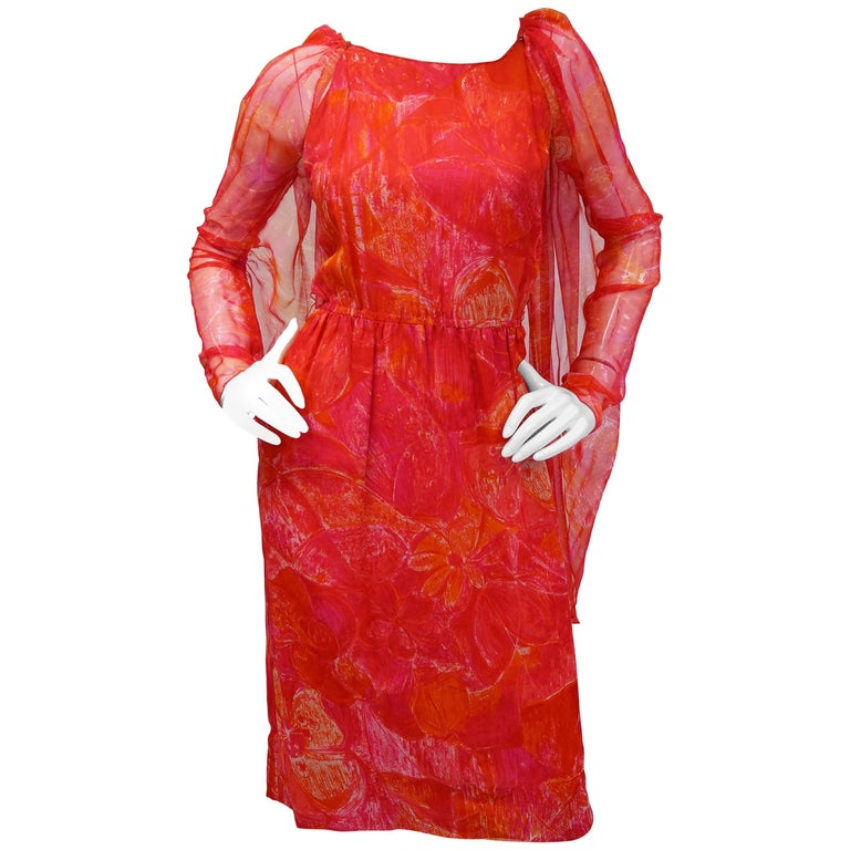 1960s Pierre Cardin Cerise Silk Dress and Cape