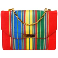1950s Silk Striped Gucci Bag with Gold Chain