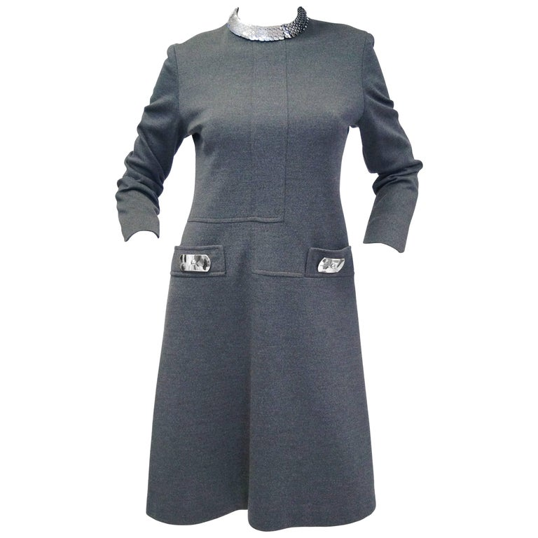 1970s Geoffrey Beene Space Gray Shift Dress with Metallic Details