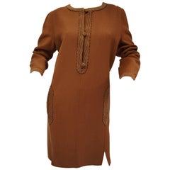 Early 1980s Oscar de La Renta Saffron Kaftan Tunic Dress