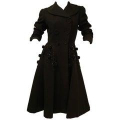 Rare 1940s Agnes - Drecoll Beaded Pompom Princess Coat