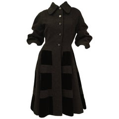 1950s Lilli Ann Black Mohair, Wool, and Velvet Blocked Princess Coat