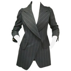 1990s Maison Martin Margiela Blue Pin Stripe Italian Wool Blazer
