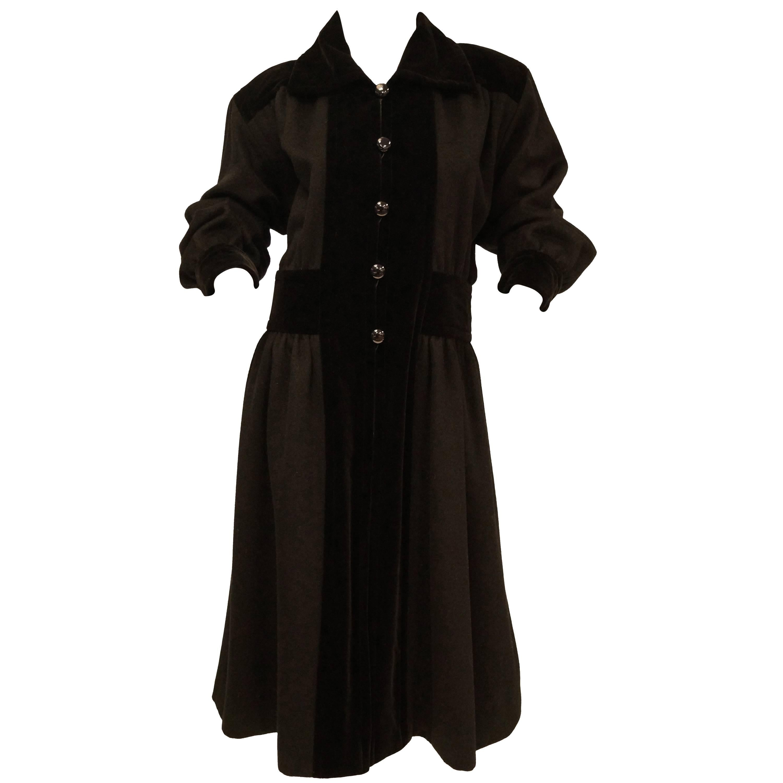 Yves Saint Laurent Russian Collection Wool with Velvet Black Coat L/XL, 1970s