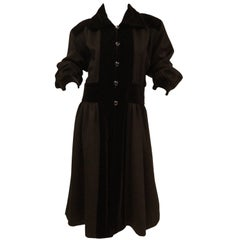 Yves Saint Laurent Russian Collection Wool with Velvet Black Coat L/XL, 1970s