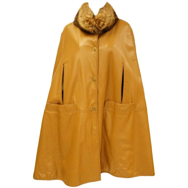 Fabulous 1960s Bonnie Cashin Leather Cape w/ Fur Collar