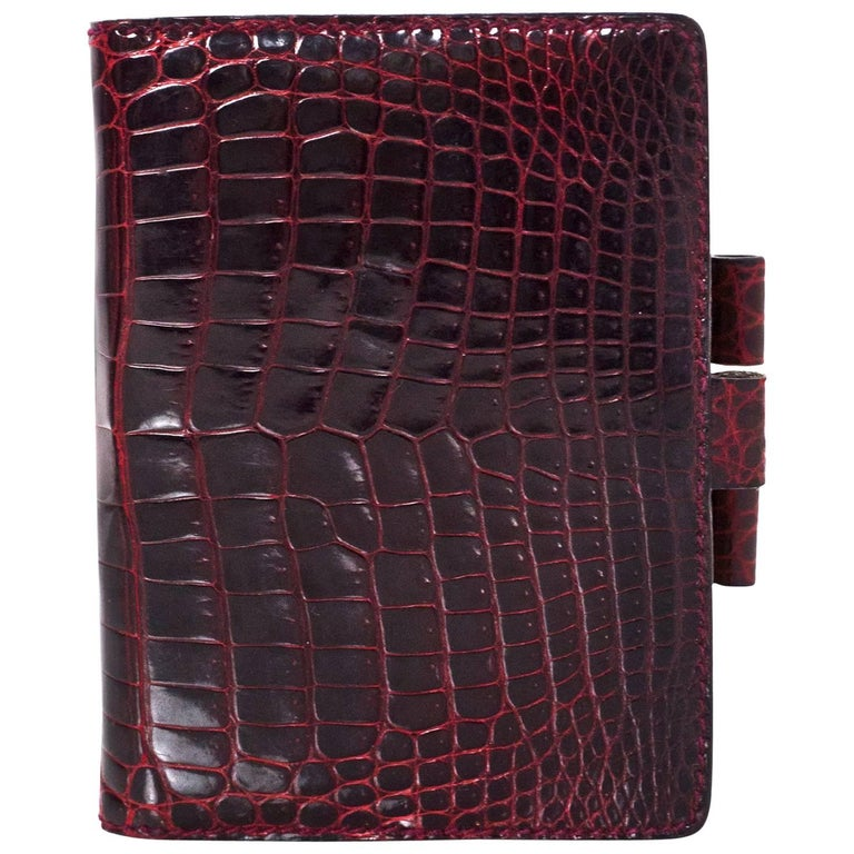 Gucci Vintage Burgundy Glazed Crocodile Mini Agenda Book