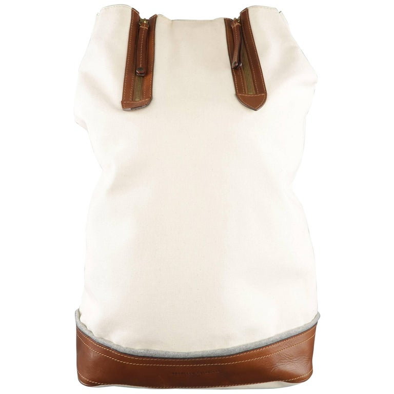 BRUNELLO CUCINELLI Off White Canvas & Tan Leather Single Strap Backpack