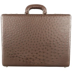 Cole Haan Large Brown Ostrich Leather Silver Lock Briefcase